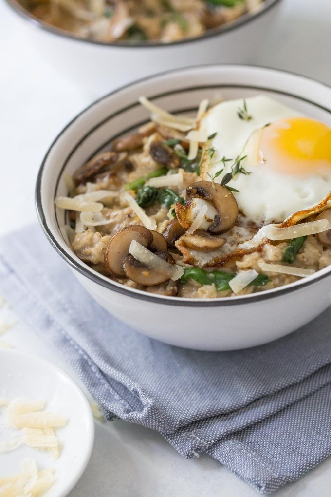 Savory Oatmeal with Mushrooms, Spinach, and Thyme