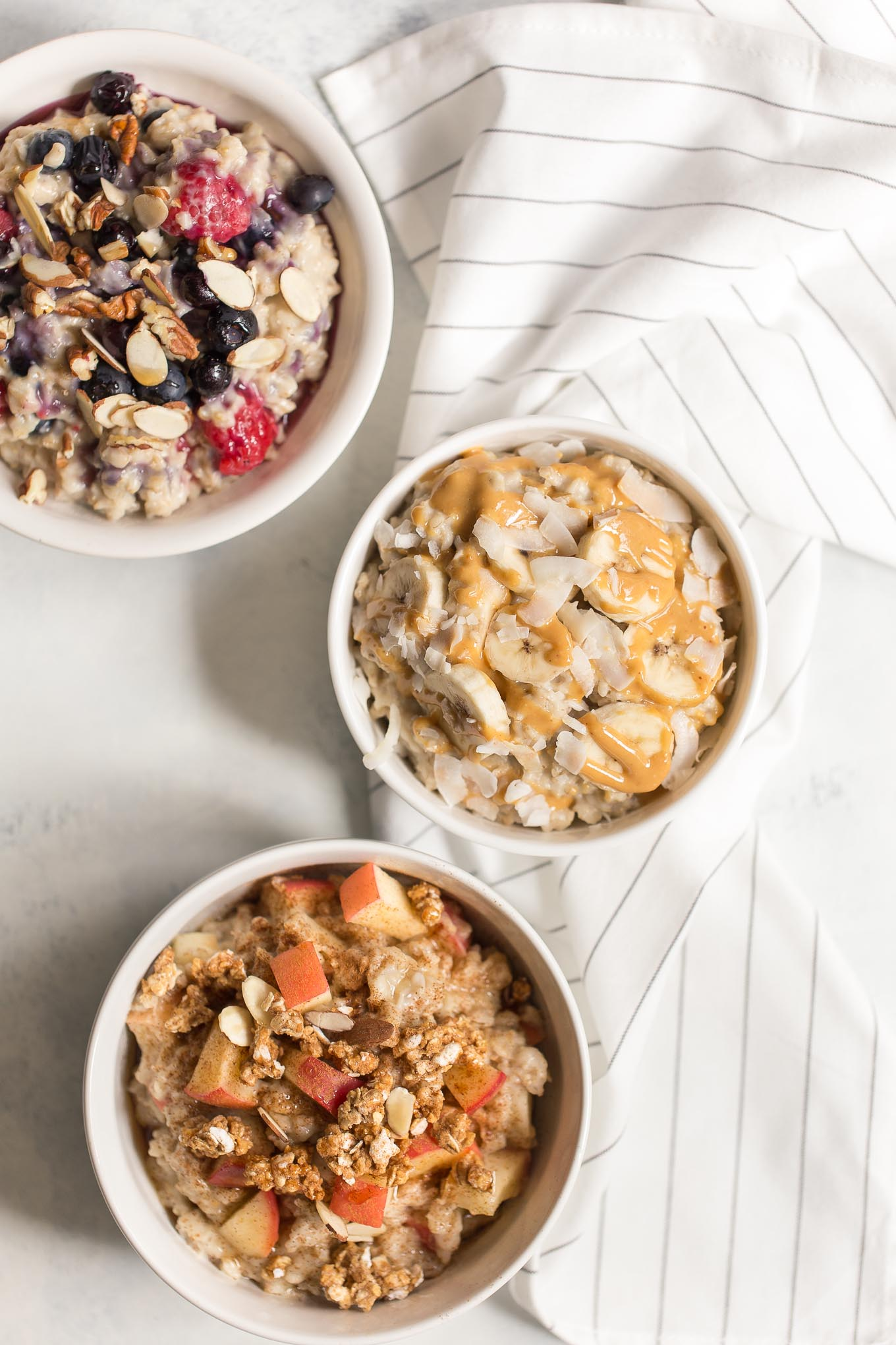 Slow Cooker Oatmeal 3 Ways