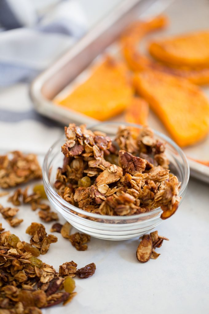 Roasted Butternut Squash with Granola and Greek Yogurt