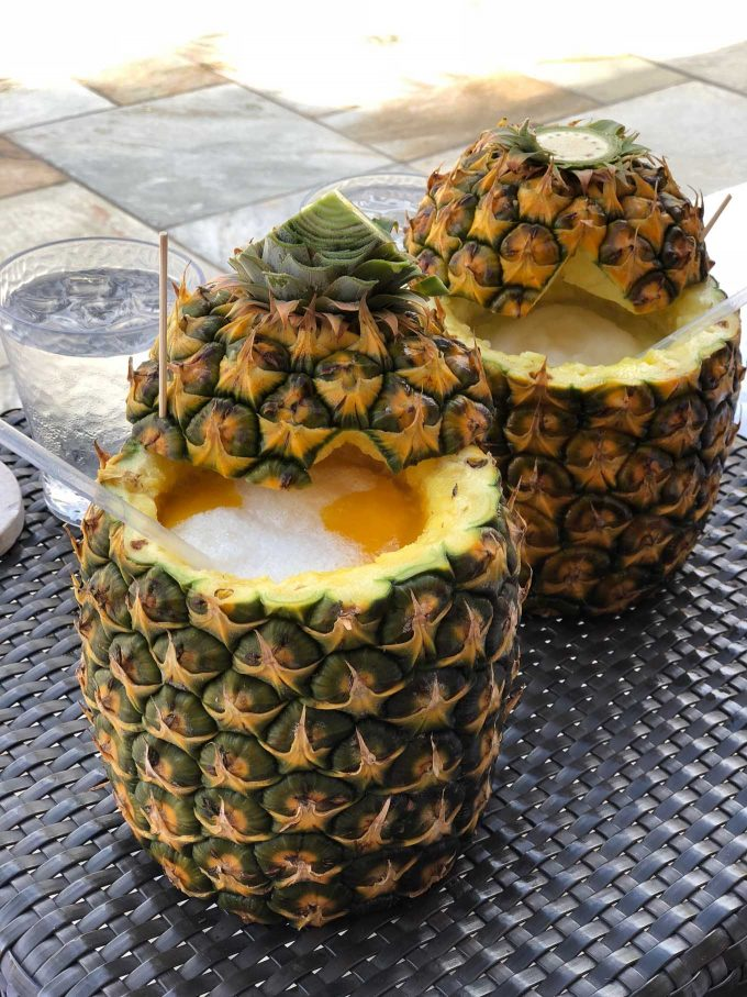 pina coladas in pineapples