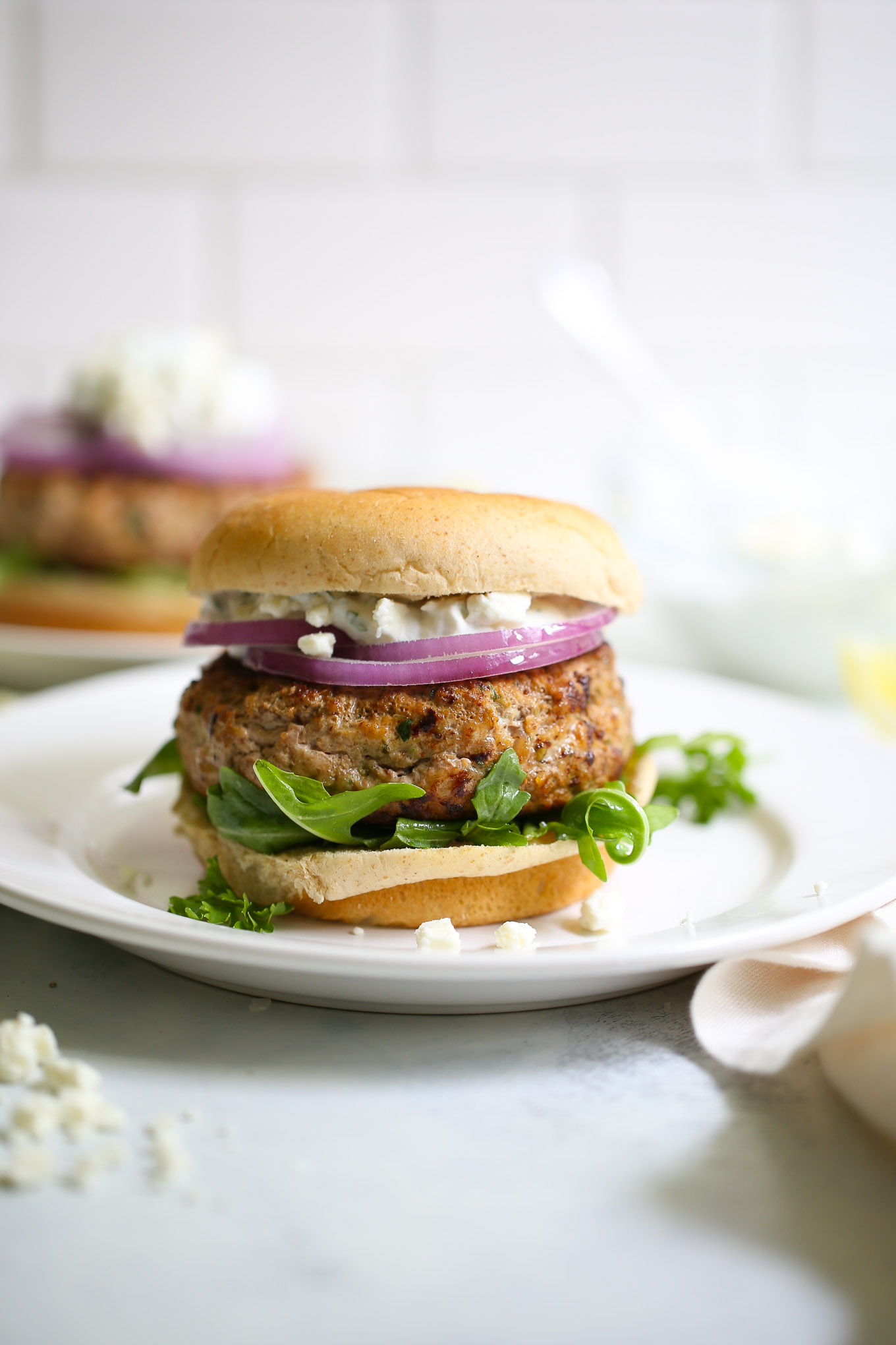 The BEST Greek Turkey Burgers with Feta Tzatziki Sauce