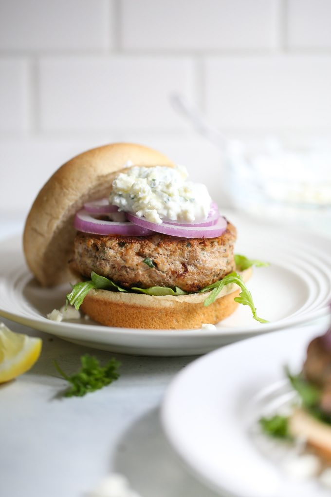 Greek Turkey Burgers with Feta Tzatziki Sauce