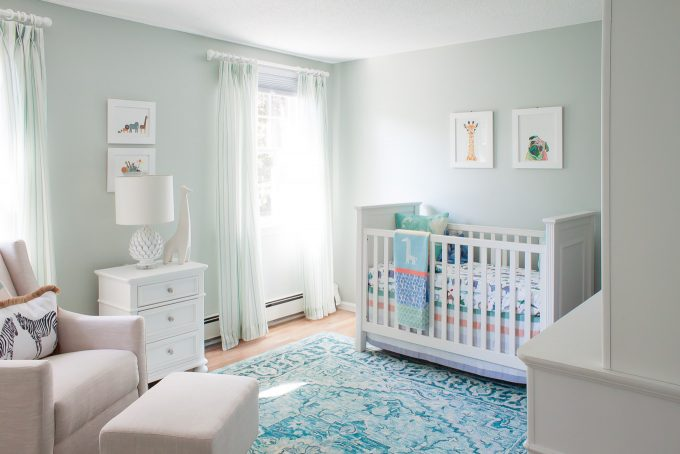 baby boy nursery - white, blue, green color scheme