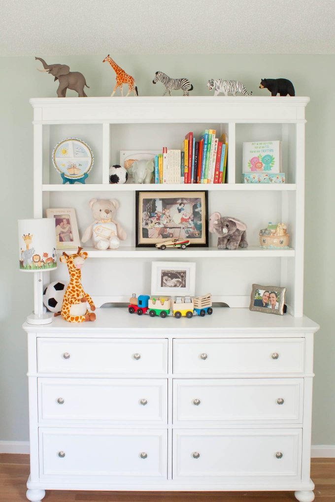 baby boy nursery - white dresser and hutch