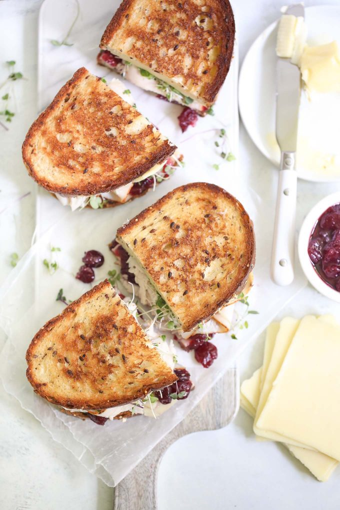 Turkey Melts with Cranberry Sauce and Sprouts