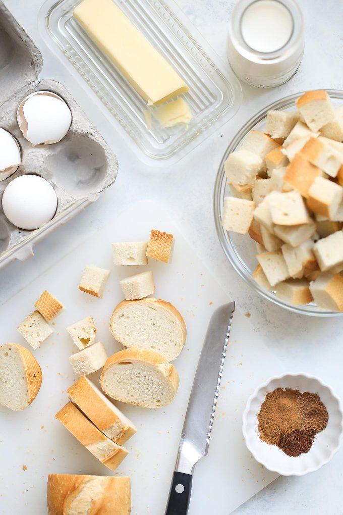 Ingredients for Pumpkin Eggnog Bread Pudding