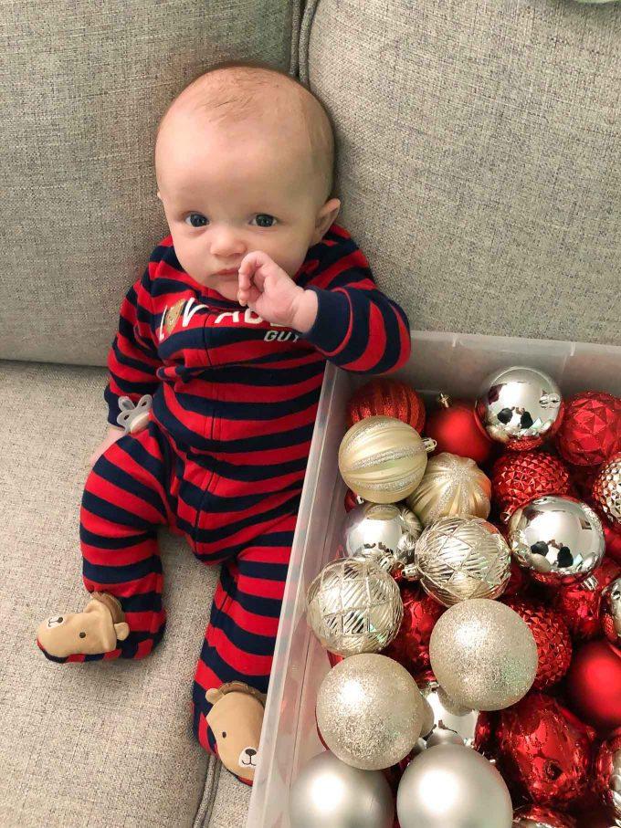 James with a box of ornaments