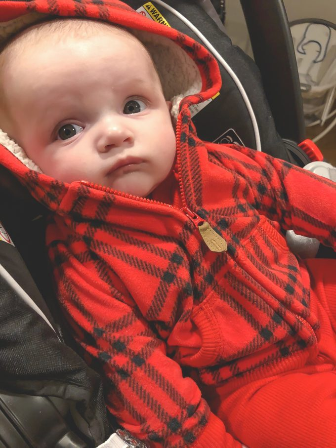 James in red plaid hoodie