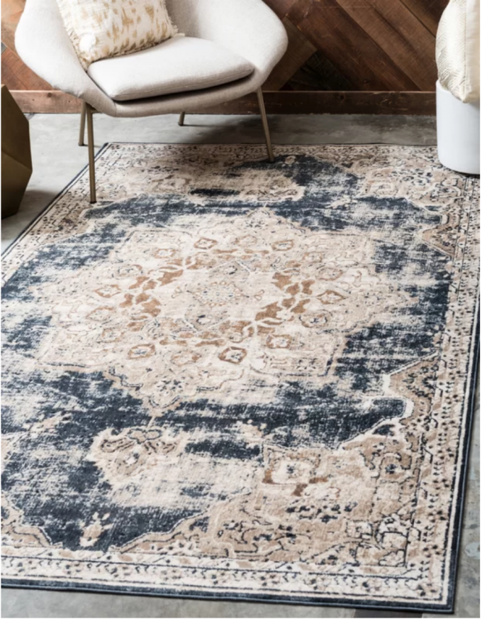 Abbeville Power Loom Dark Blue Area Rug