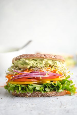 The Best and Easiest Veggie Sandwich - with hummus, avocado, and all the healthy, fresh veggies you like!