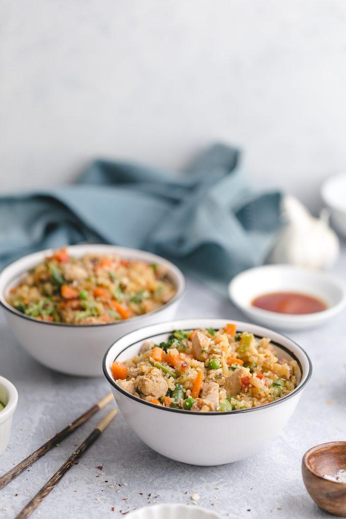 Easy Cauliflower Fried Rice with Chicken made with frozen cauliflower rice