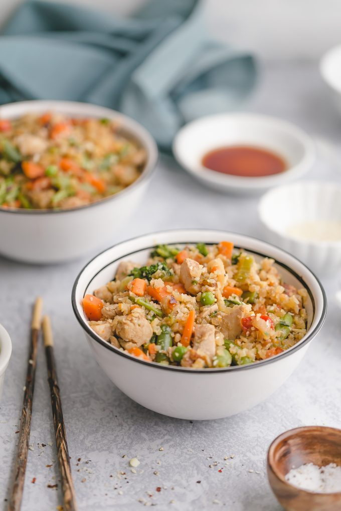 Easy Cauliflower Fried Rice with Chicken made with frozen cauliflower rice