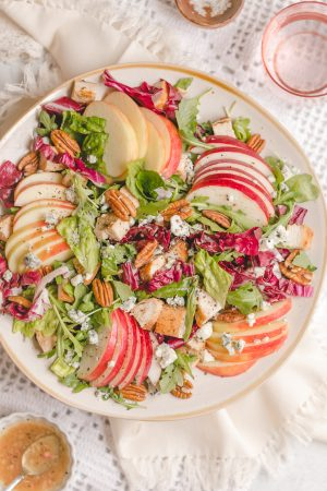 Homemade Panera Fuji Apple Salad with Chicken- made with a mix of romaine, arugula, radicchio, roasted chicken, fresh apple, red onion, gorgonzola cheese, pecans, and apple vinaigrette
