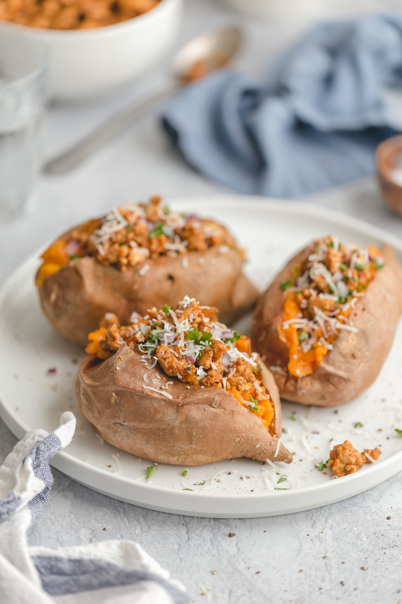 Healthy Stuffed Sweet Potatoes with Ground Turkey Taco Meat