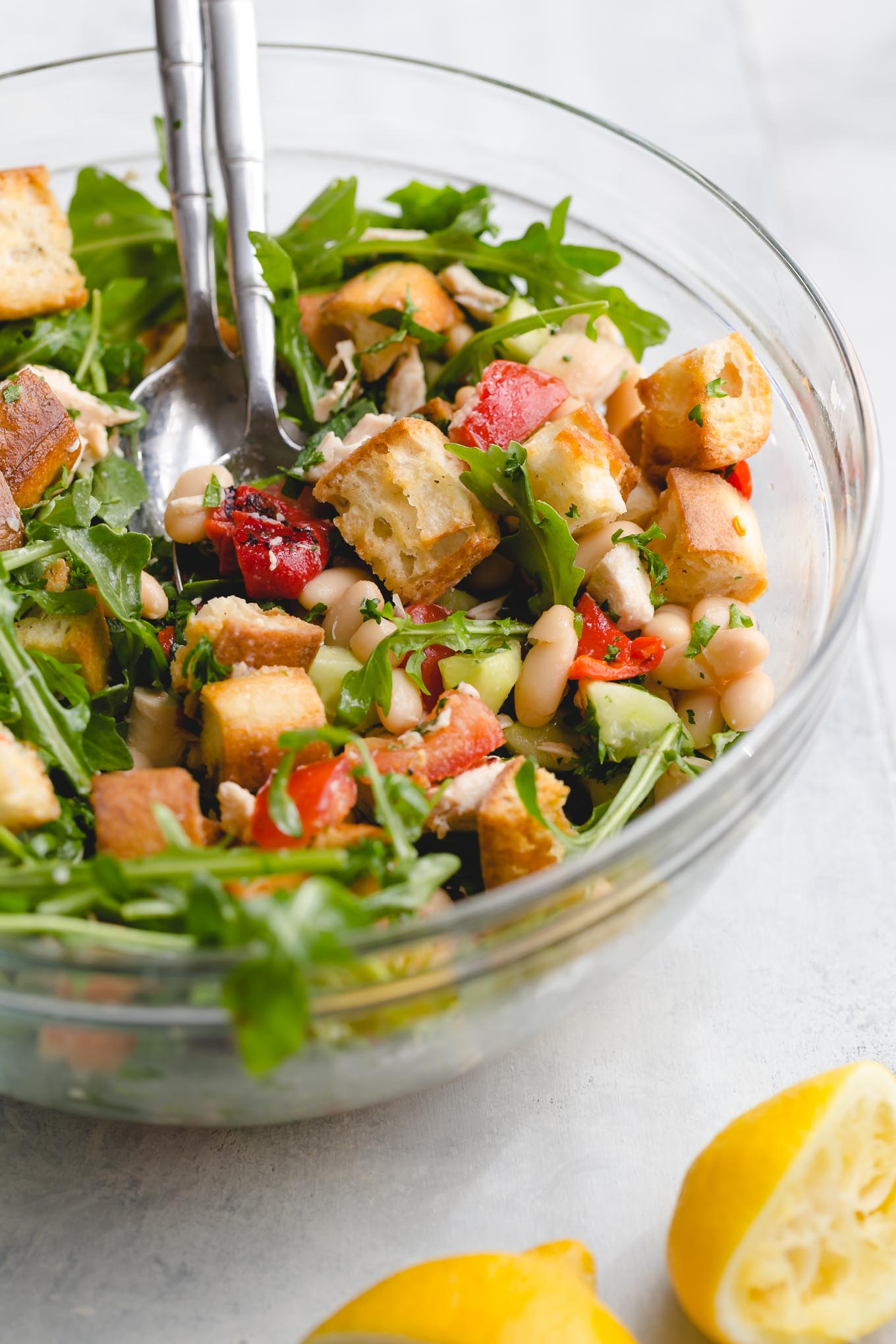 Sourdough Panzanella with Roasted Red Peppers and White Beans