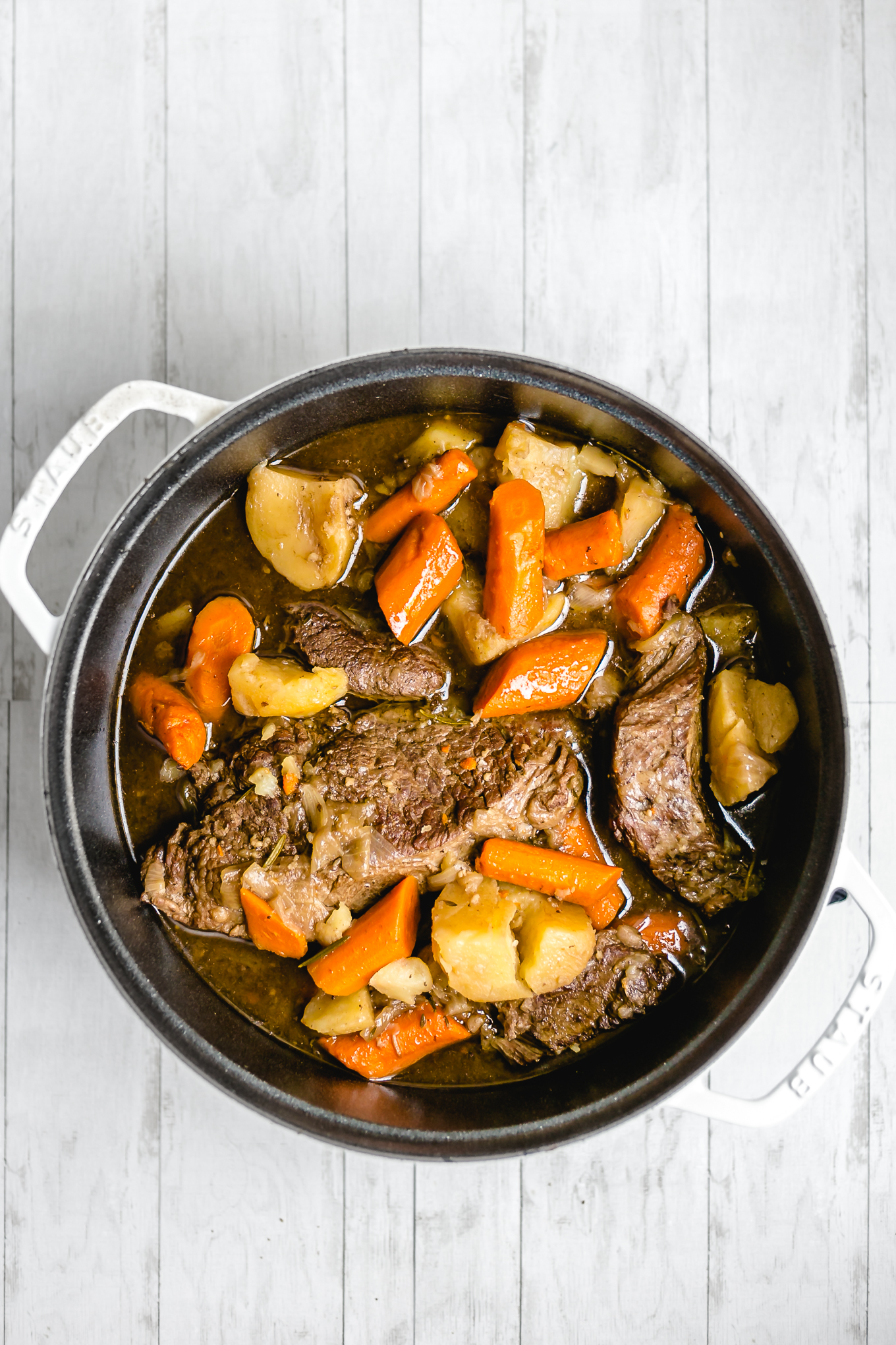 shot of finished pot roast recipe