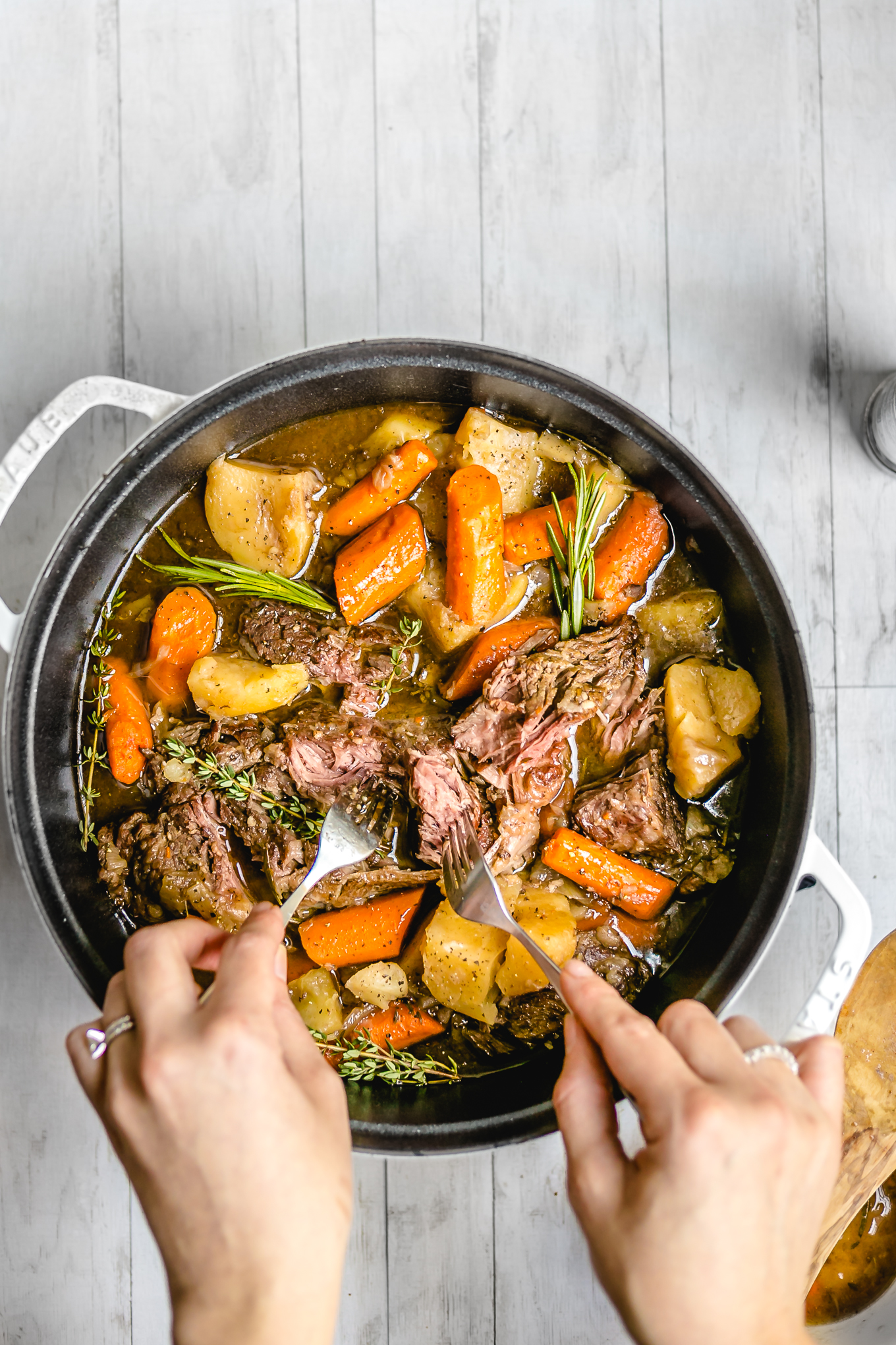 pot roast in a pot on a table