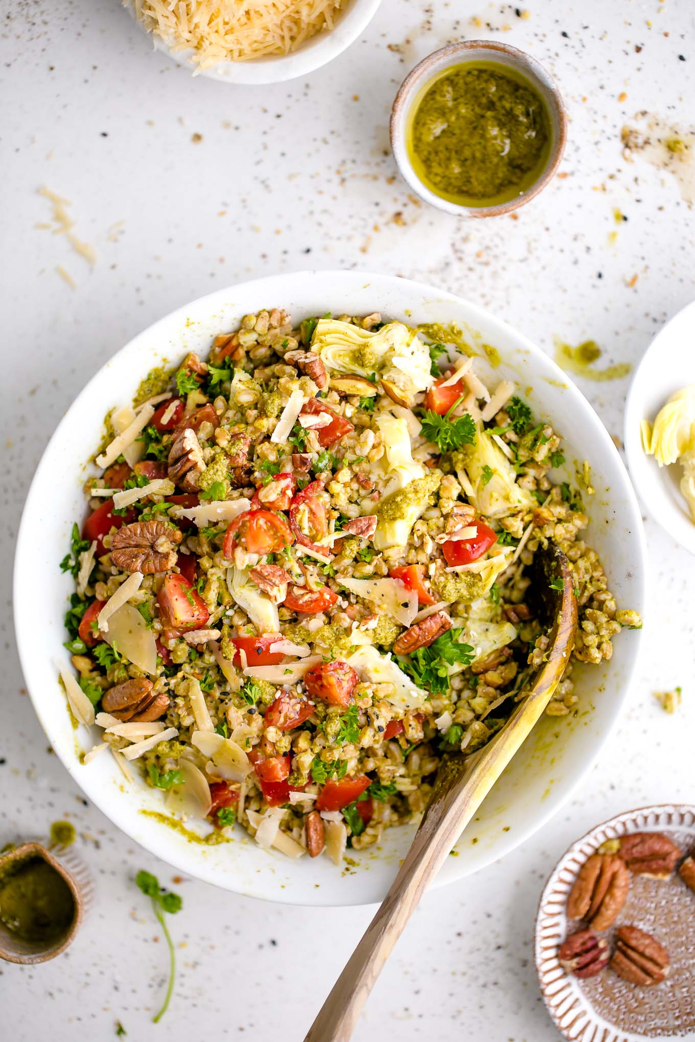 Farro with Pesto, Tomatoes and Pecans 2