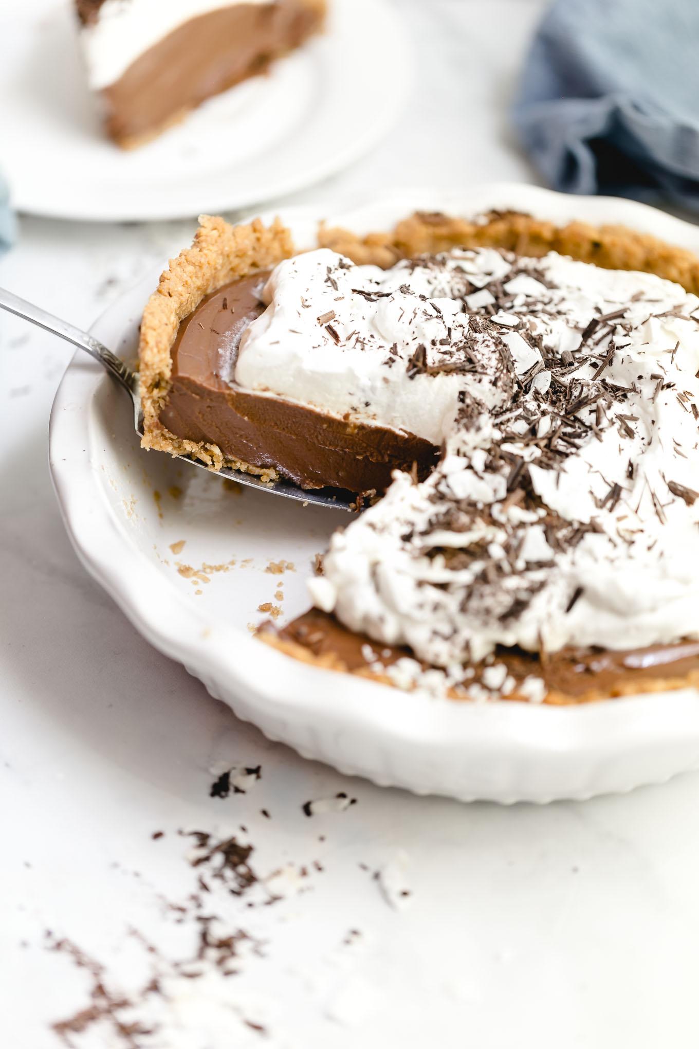 Chocolate Cream Pie with Pecan Crust 11