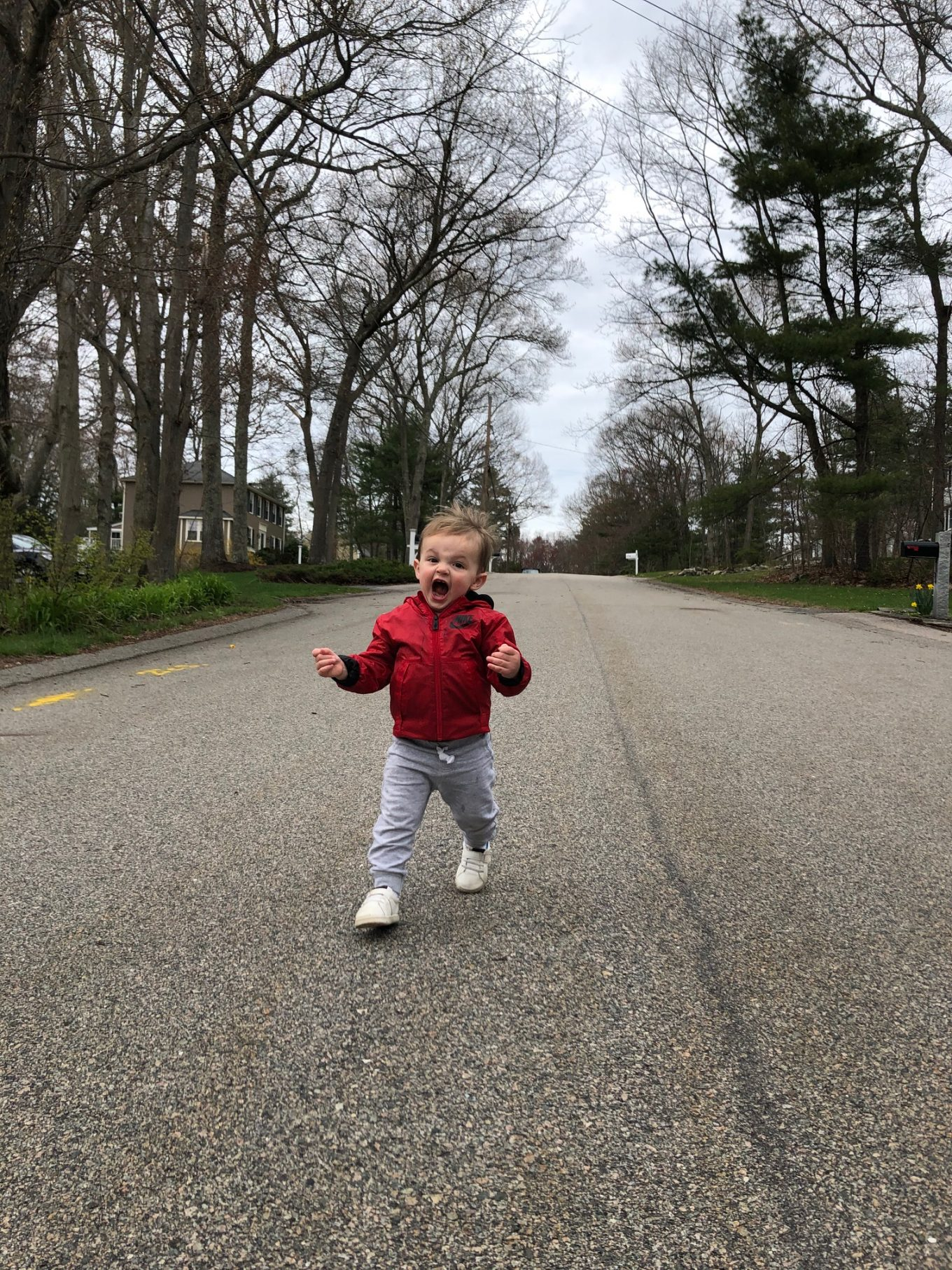 james running down the street