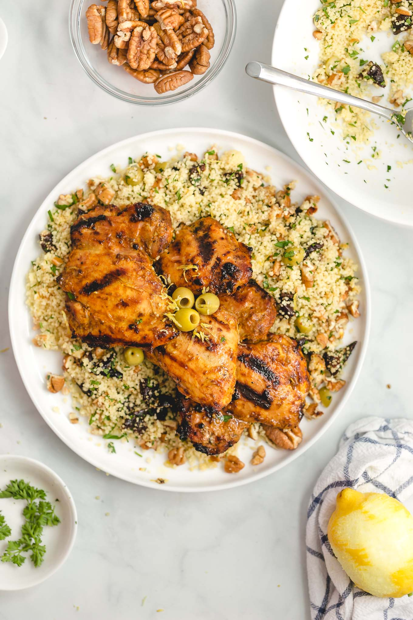 grilled chicken thighs recipe with moroccan marinade and couscous side dish