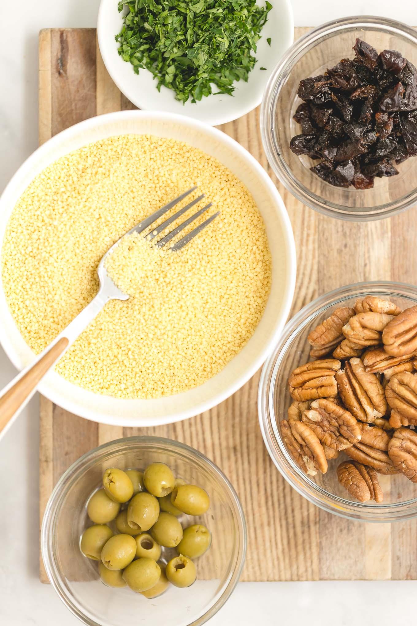 ingredients in pecan couscous recipe