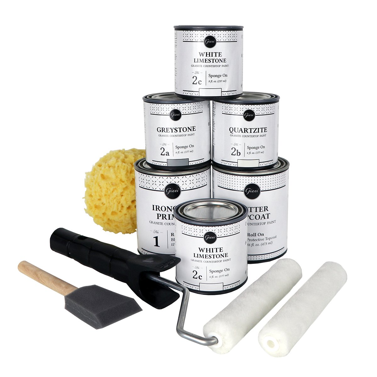 what comes in the Giani White Diamond Countertop Paint Kit