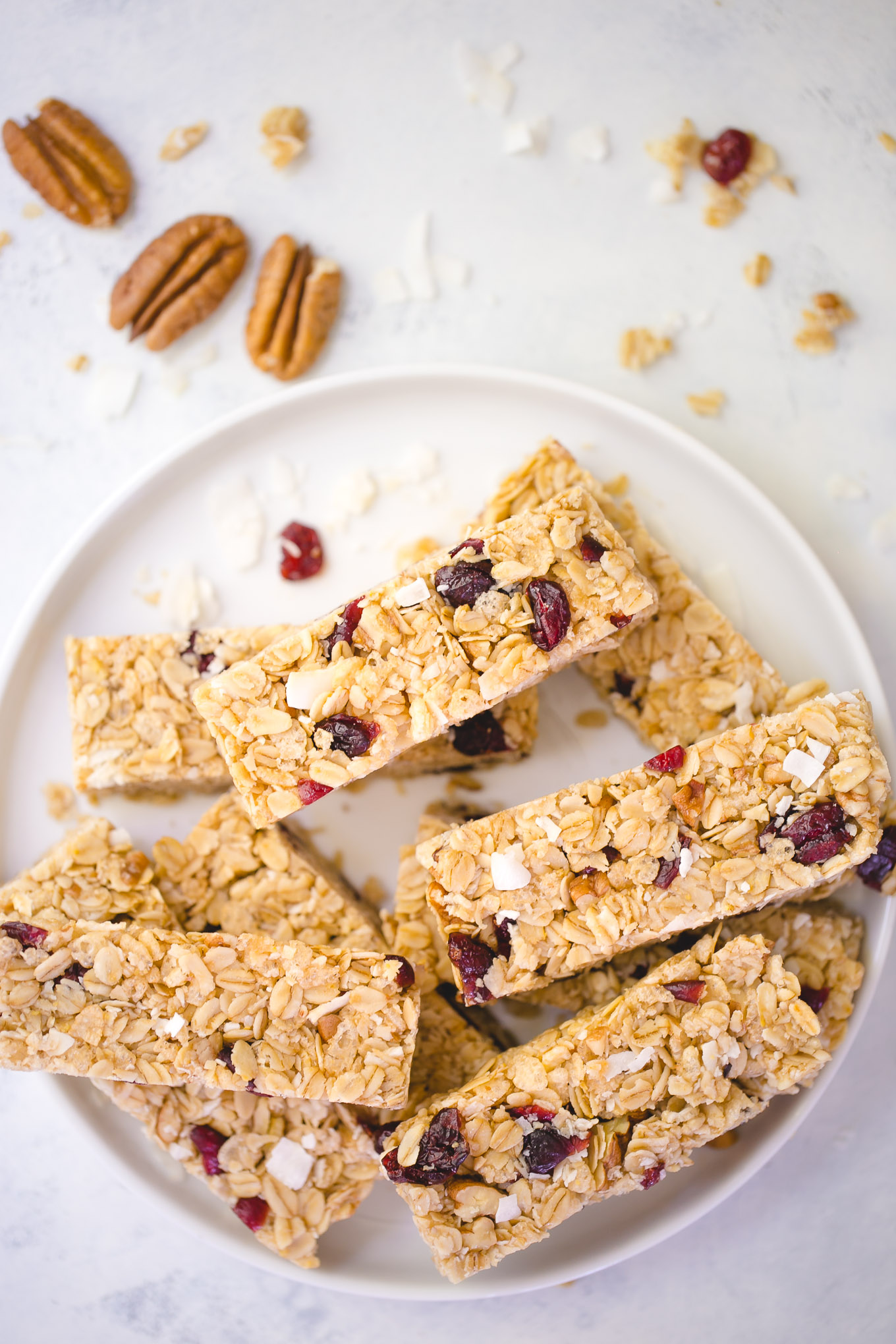 homemade granola bars recipe with coconut pecans and cranberries