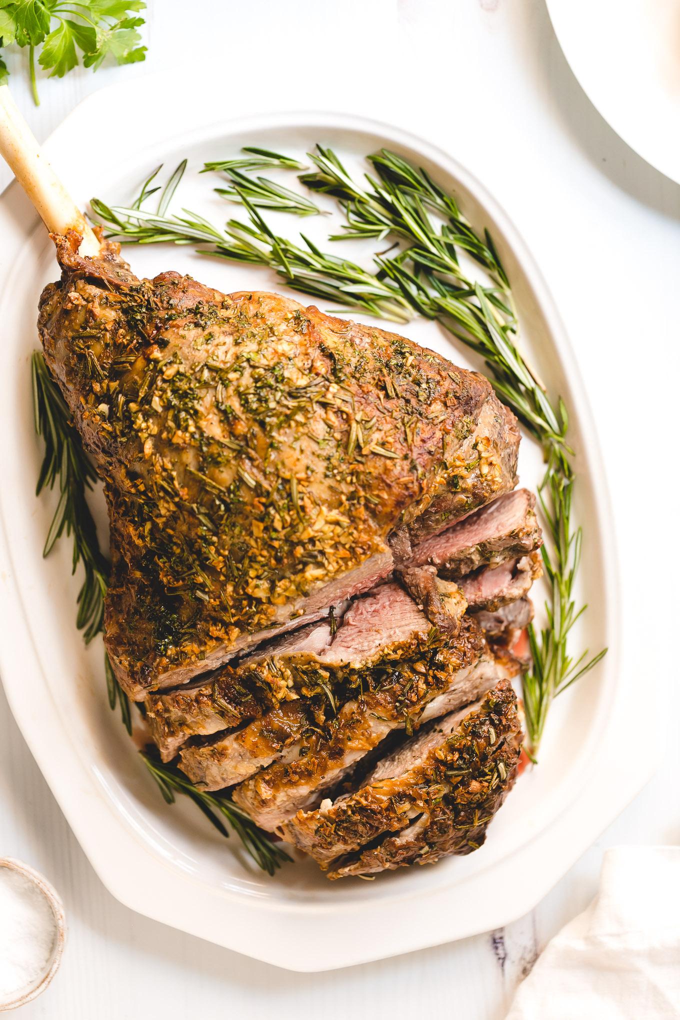 Garlic Herb Roasted Lamb Leg from Superior Farms American lamb