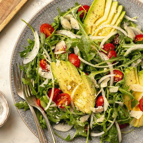 Arugula Avocado Salad Recipe with Lemon Vinaigrette